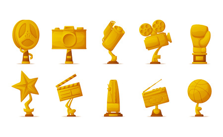 Music and sport, gold prize trophies for cinema vector. Film reel and photo or video camera, star and radio, boxer glove and basketball, metronome shapes Ilustracja
