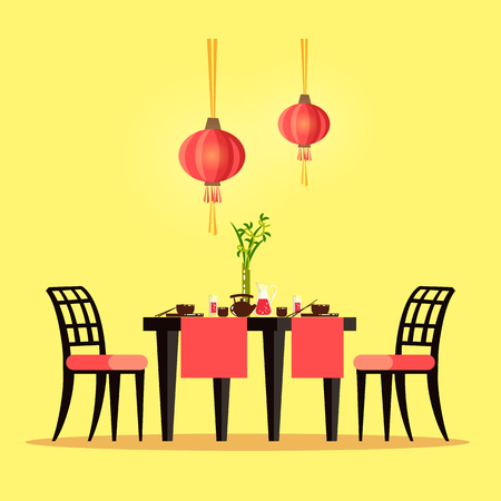 Restaurant table Chinese style interior of cafe vector. Place to eat, tableware with paper red lanterns and vase on desk with plants as decoration Stok Fotoğraf - 125283560