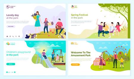 Hermoso día en el parque, festival de primavera, área de juegos para niños y bienvenidos a las páginas web de personas de dibujos animados vectoriales del festival de diversiones, entretenimiento al aire libre. Ilustración de vector