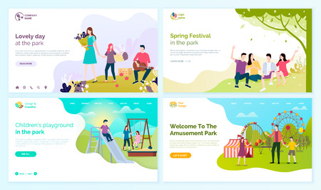 Lovely day at park, spring festival, children playground and welcome to amusement festival vector cartoon people web pages, entertainment outdoors.