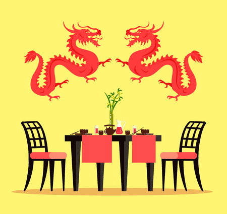 Chinese restaurant furniture and interior design vector. Table setting and chairs, dragons, bowls with chopsticks and teapot, cups and lemonade, bamboo