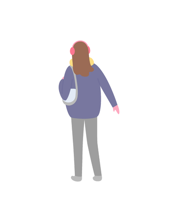 Standing back brunette person in jacket with scarf and pink earmuffs with mittens, colorful simple vector illustration in flat style isolated on white Standard-Bild - 125283564