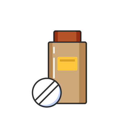 Allergy hypersensitivity, plastic bottle with emblem and drugs isolated icon vector.