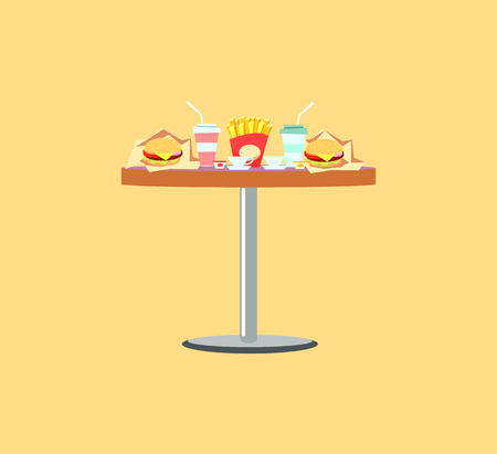 Fast food table, french fries, burger in paper, soda in plastic glass. Board serving with disposable dishes and ceramic cups. Takeaway meals vector Foto de archivo - 116813310