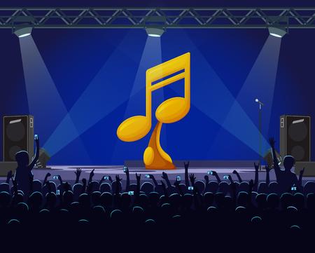 Leistung auf dem Bühnenvektor, goldener Preis des besten Sängers. Musikalisches Konzert mit Geschrei der Fans, Scheinwerfern und Goldpreis in Form einer Note auf dem Podest