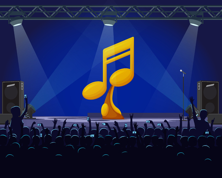 Performance on stage vector, best singer golden award. Musical concert with fans crowd shouting, spotlights and gold prize in shape of note on pedestal Иллюстрация