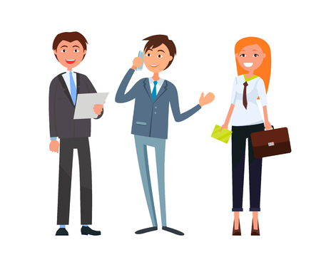 Team of corporate business workers in formal wear. Vector man with sheet of paper, boss speaking on telephone and woman holding briefcase isolated characters