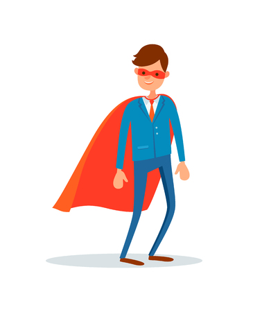 Man hero in mask and mantle, businessman support vector flat style. Ilustração