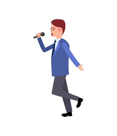 Music performer, male with mike dancing and gesturing vector. Solo karaoke sound, movements of artistic person, character wearing suit, walking around