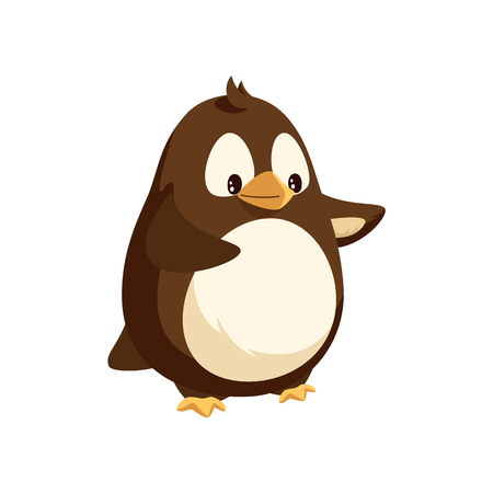 Penguin looking in distance and walking isolated icon vector. Animal with wings and beak, white and brown feathers. Antarctic winter cheerful character 向量圖像
