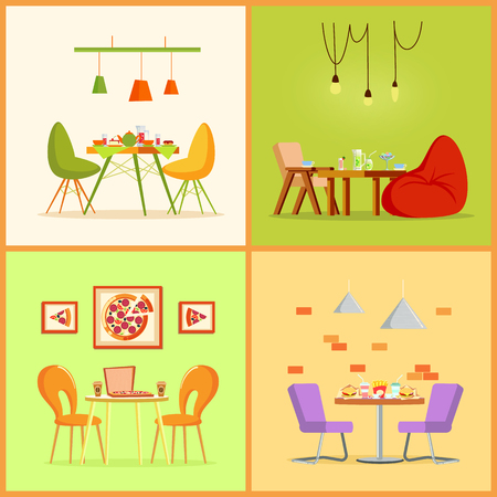 Table and chairs in flat with pizza, burgers and french fries, tea and cocktails. Glass and ceramic dishes on board, hanging lamps, place for eating vector
