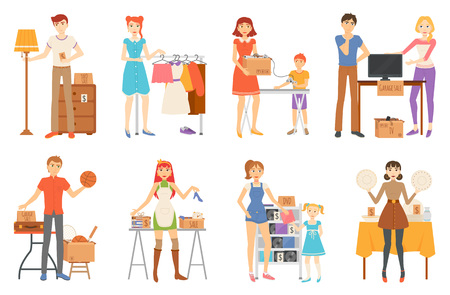 Garage sale and second hand staff, selling goods vector.
