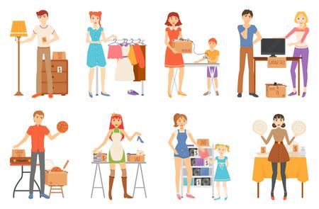 Garageverkoop en tweedehands personeel, verkopende goederenvector