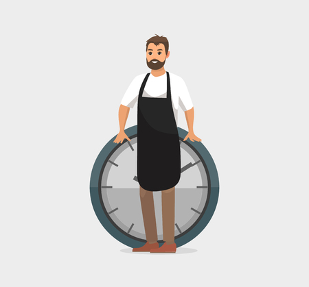 Worker with clock vector, worker at job, deadline at work. Person wearing apron, rounded watch with lines and hands, measuring time. Flat style icon