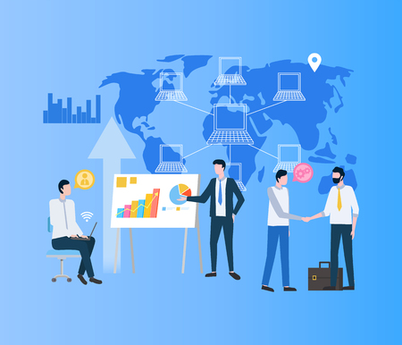 Modernizing business process vector, businessman making deal. World map with network computers and location, people on meeting conference talking