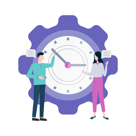 Time management people with big clock vector. Isolated man and woman with watch, timing and planning organization, characters with working plan job