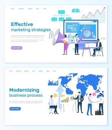 Effective marketing strategies, modernizing business process website vector.