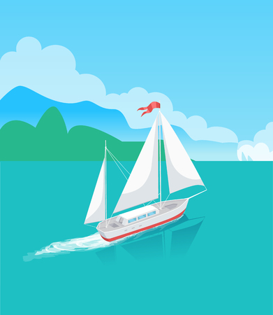 Ship or sailboat in ocean with trees on horizon. Marine vessel sailing in bay and leaving trace on water surface, tropical lagoon vector illustration.
