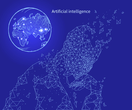 Artificial technology and intelligence poster with text sample vector. Thinking human with globe sign, planet with map of territories. Computer mind