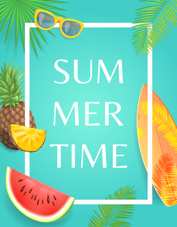 Summer time party banner, vector placard sample. Surfboard and sun glasses, pineapple slice and watermelon piece on palm leaves print, postal in frame