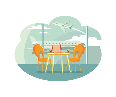 Cafe table at airport with pizza in box and coffee vector. Banque d'images - 117269973