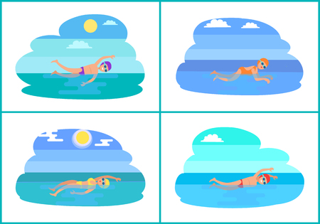 Breaststroke butterfly styles isolated vector. Swimming man and woman in suits. Professional swimmers practicing technique, water sport exercises Ilustração