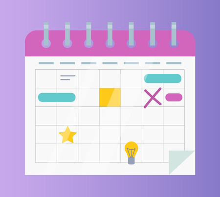 Calendar or organizer with business affairs and events vector Illustration