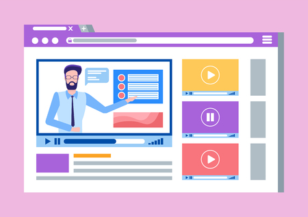 Online courses lead by male teacher man on video vector. Çizim