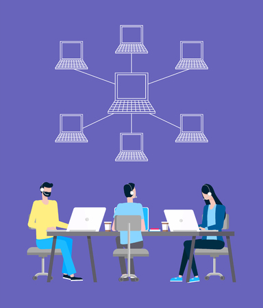 Internet connection vector, operators of online support. Linked laptops, men and woman in headset at desktop with coffee, web help or informative aid