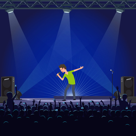 Music performance emotional concert singer vector. Crowd of fans singing with star, male with microphone on spotlights standing on stage with loudspeakers