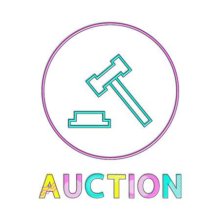 Auction hammer flat vector color framed icon in minimalistic style. Symbol for merchandise put up for sale, form trade and for public bidding bargain Illustration