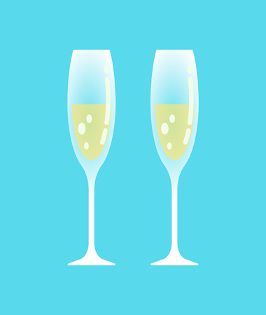 Champagne glasses with alcoholic beverage poured in containers vector. Special occasion for drinking alcohol type of drinks, wedding ceremony party
