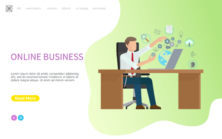 Online business web poster, man and processes computer, multi channel search and payment systems, messages and cloud storage sales vector. Website or webpage template landing page in flat Vector Illustratie