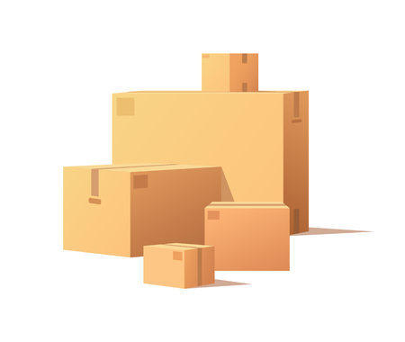 Cardboard boxes of big and small size isolated vector. Fragile packs, closed packages with adhesive tape, post office crates, stockpile storage stacks