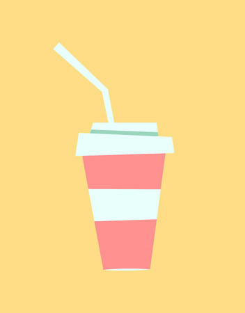 Soft drink, sweet beverage in plastic mug vector, isolated icon of soda served in cafe bistro. Fresh cocktail with straw serving in summer, paper cup