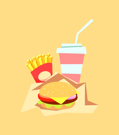 Burger fast food meal with drink hamburger sandwich vector. Isolated menu with beverage in plastic bottle, French fries and package with dish american meat