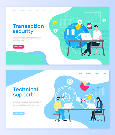 Transaction security and technical support web pages vector. Çizim