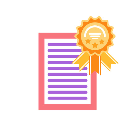 Certificate with honor and circled label with ribbon vector. Page with text, success and achievement of person, isolaited icon document with frame Illustration