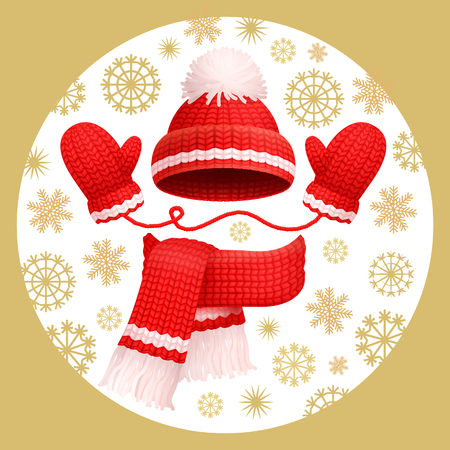 Warm 3 pieces set winter red knitted scarf, mittens and hat with pom-pom, vector. Thick woolen accessories, beanie and gloves on snowflakes backdrop