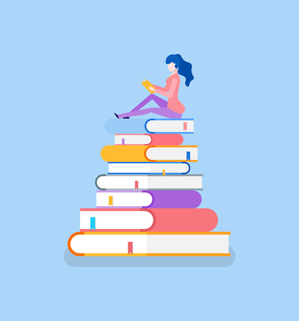 Pile of books and lady sitting on top reading vector. Isolated icons bookworm preparing for exam test in university school. Education self study methods