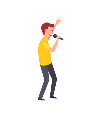 Male singing, musician giving performance isolated vector.