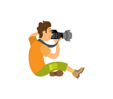 Photographer taking photo with modern digital camera sitting on floor. Videographer recording video, powerful zoom device vector paparazzi or reporter