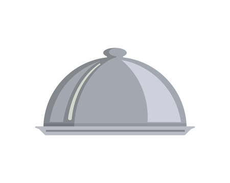 Silver serving dome or Cloche isolated. Food served on plate vector, meal closed with metallic cap. Serving nutrition cafe metal special dish of chef