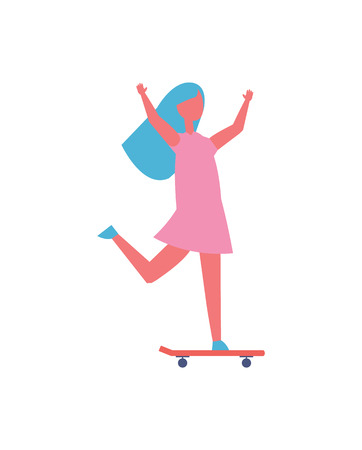 Girl skateboarding in park isolated vector cartoon icon. Child in dress having fun with hands up standing and riding on skateboard, playing outdoor