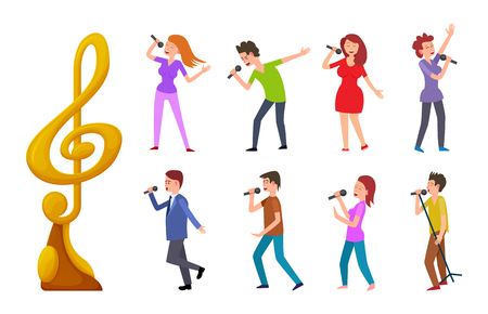 Musikpreis und Menschen singen Vektor, Sänger im Wettbewerb. Darsteller, die festliche Kleidung mit Mikrofonen tragen, musikalische Darbietung des Frauenmannes