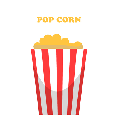 Pop corn prepared maize seeds vector, grain with flavor isolated icon. Kernel nutritious food in basket with striped print, cinema watching snacks Stock Illustratie