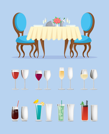 Restaurant table and glassware with cocktails vector. Dinner setting and alcohol drinks or wine glasses, furniture and beverages in containers, cutlery Illustration