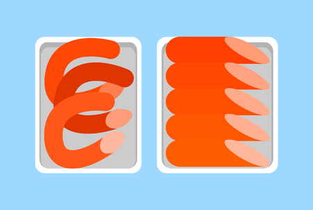 Banger and frankfurter, weenie and red-hot, butchery food in package vector icons. Sausages meat fresh organic products in plastic tray, retail market.