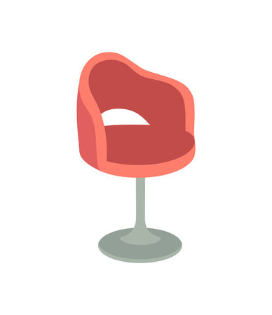 Chair furniture of spa salon or office, isolated icon vector. Adjustable armchair, comfortable to sit on. Empty place, soft turning high armchair