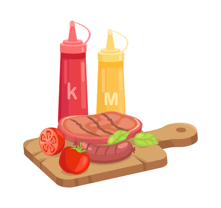 BBQ set, hot course on plank isolated cartoon vector icon. Grilled steak and sausage with sliced tomato and herbs on cutting board, with sauce bottles